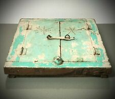 ANTIQUE VINTAGE INDIAN RECLAIMED SHUTTERED WINDOW MIRROR. JADE & PEPPERMINT.