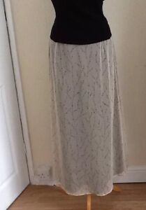 Special Occasion Beaded Calf Length Skirt From Alexon Size 12 Taupe And Black
