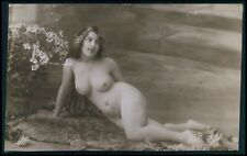 a28 French nude woman 2nd choice condition original c1900-1920s photo postcard