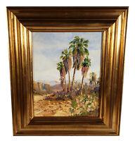 VINTAGE CALIFORNIA DESERT MOUNTAINS PALM TREES LANDSCAPE OIL PAINTING PHIL EATON