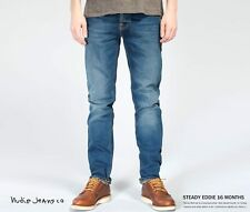 SIZE 32/34 w32 l34 NUDIE jeans STEADY EDDIE 16 MONTHS straight blue pocket