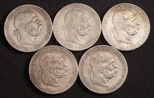 1900, Austria, Emperor Francis Joseph I. Large Silver 5 Corona Coins. (VF) 5pcs!