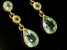 E137 Genuine 9ct SOLID Yellow Gold NATURAL Blue Topaz Drop EARRINGS Journey Stud