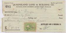(RF12) 1938 QLD receipt QLD land & build 3d green duty