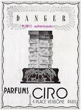 PUBLICITE PARFUM CIRO DANGER PARIS PLACE VENDOME DE 1943 FRENCH AD PERFUME PUB