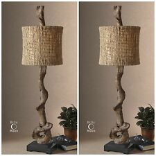 TWO RUSTIC WEATHERED DRIFTWOOD LOOK DECOR TABLE LAMPS NATURAL TWINE SHADES