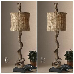 """TWO FARMHOUSE 40""""  WEATHERED DRIFTWOOD LOOK TABLE LAMPS NATURAL TWINE SHADES"""