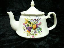 China Teapot (862) Tea Pot Cream with Coloured Flowers Price Kensington