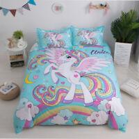 Angel Unicorn Bedding Set Kids Cartoon Duvet Cover Twin Queen Size Blue Color