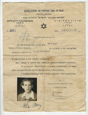 JUDAICA Certificate (travel )  Organization of Jewish refugees in Italy 1948