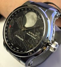 New Renato Patented Martin Braun Hand Modified Automatic Black Moon Dial Watch