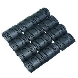 12 PCS Universal Rubber Rail Covers for Picatinny / Weaver Rails - Black or Tan