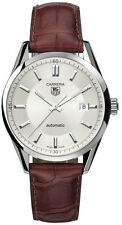 GENUINE TAG HEUER CARRERA  WV211A.FC6181 BROWN LEATHER AUTO SILVER MENS WATCH