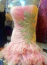 SHERRI HILLS 14847 PINK STRAPLESS BABY DOLL SEQUINED RUFFLE MINI PROM/PARTY DRES