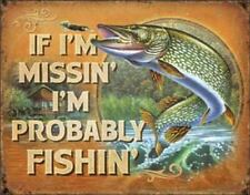 Missing Probably Fishing Vintage Retro Tin Metal Sign 16 x 13in