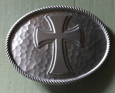 """LARGE OVAL IRON CROSS BELT BUCKLE NEW APPROXIMATELY 4"""" X 3"""""""