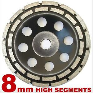 180mm DOUBLE ROW DIAMOND GRINDING CUP WHEEL FOR HARD CONCRETE 16GRIT SOFT BOND
