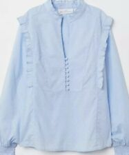 H&M WOMENS Size 8 Blue Print Long Sleeved Blouse Stand Up Collar BNWT £17.99