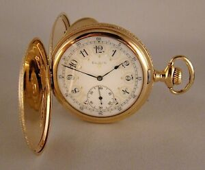 120 YEARS OLD ELGIN 14k GOLD FILLED HUNTER CASE FANCY DIAL GREAT POCKET WATCH