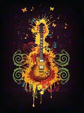 PAINTING GUITAR PAINT SPLACH BUTTERFLY GROOVY COOL RETRO POSTER PRINT BMP10866