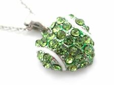 Women's Tennis Ball Dangle Pendant Crystal Heart Necklace New
