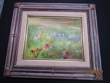Vintage original Daisy Meadow Flower Field Impressionist oil painting framed