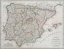 CARTE ESPAGNE ET PORTUGAL  Dressés par P. Lapie Géographe, France vers 1820