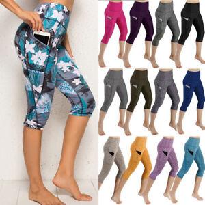 Women Capri Cropped YOGA Pants Pockets Gym Sports Fitness Leggings Workout Slim