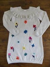 Hanna Andersson Flower Sweater Dress Ruffle Collar Yoke Heather Cream Size 150