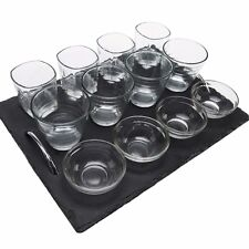 Set of 13 Tapas Dishes & Glasses Slate Plate/tray Appetiser Serving Canape Bowls