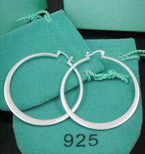 Fashion Jewelry 925Sterling Silver Big Flat Circle Women Earrings Hoop ZE043