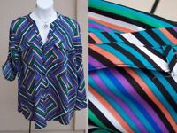 Calvin Klein geometric stripes top shirt plus size 2x 3x vneck rolltab blouse