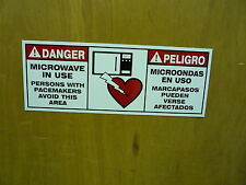 """Danger Microwave In Use Pacemaker Bilingual 16"""" X 6"""" Aluminum Sign"""