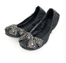 TORY BURCH Black Leather Eddie Crystal Bow Ballet Flats Size 6