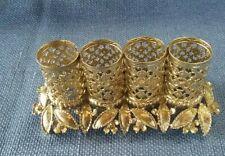 Vtg Gold Tone Filigree Ormolu 4 Tube Lipstick Holder w/ Leaves & Flowers
