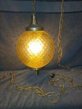 Vintage Retro Mid Century Modern Glass hanging Swag Lamp Light w/ Chain