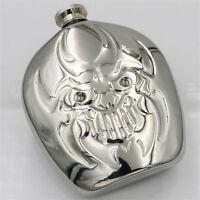 6oz Stainless Steel Skull Head Hip Flask Liquor Bottle Drinking Halloween Gift