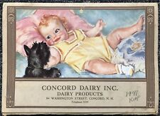 Vintage Concord Dairy Inc NH The Importance Of Milk 1941 Calendar Store Display