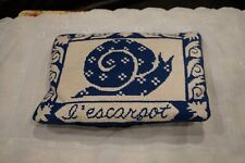 Vintage Needlepoint Small White & Blue Snail Decorative Pillow