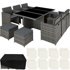 Poly Rattan Mobili da Giardino Set 6 Sedie 1 Tavolo 4 Sgabelli Alluminio Grigio