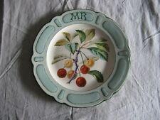 Rare plat décoratif en faïence de Choisy Le Roi décor Mariotte 1908 cerises