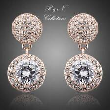 18K Rose Gold Plated Two Piece Genuine Made With Swarovski Crystal Earrings E432