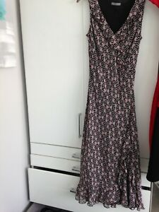 M&S black with Pink/grey Floral pattern long dress with frills ruffles Size 12UK