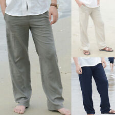 0bd1eed82 Mens Cotton Loose Pants Beach Drawstring Yoga Elasticated Linen Style  Trousers