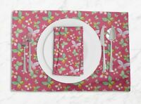 S4Sassy Dot & Butterfly Printed Room Tablemats With Napkins set-BT-504G