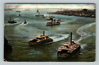 New York City NY, Boats In The Harbor, New York Vintage c1908 Postcard