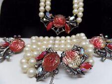 SCHIAPARELLI Signed Molded Glass Roses Necklace, Bracelet & Earrings!