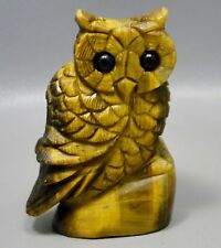 Owl Figurine Tigereye 2.75 inch Gemstone Animal Carving Tiger's Eye #1
