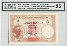 New Hebrides ND (1941) P-4b PMG Choice Very Fine 35 5 Francs