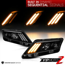 10-12 Ford Fusion Black Smoke {Mustang 3-Bar LED Sequential} Projector HeadLight